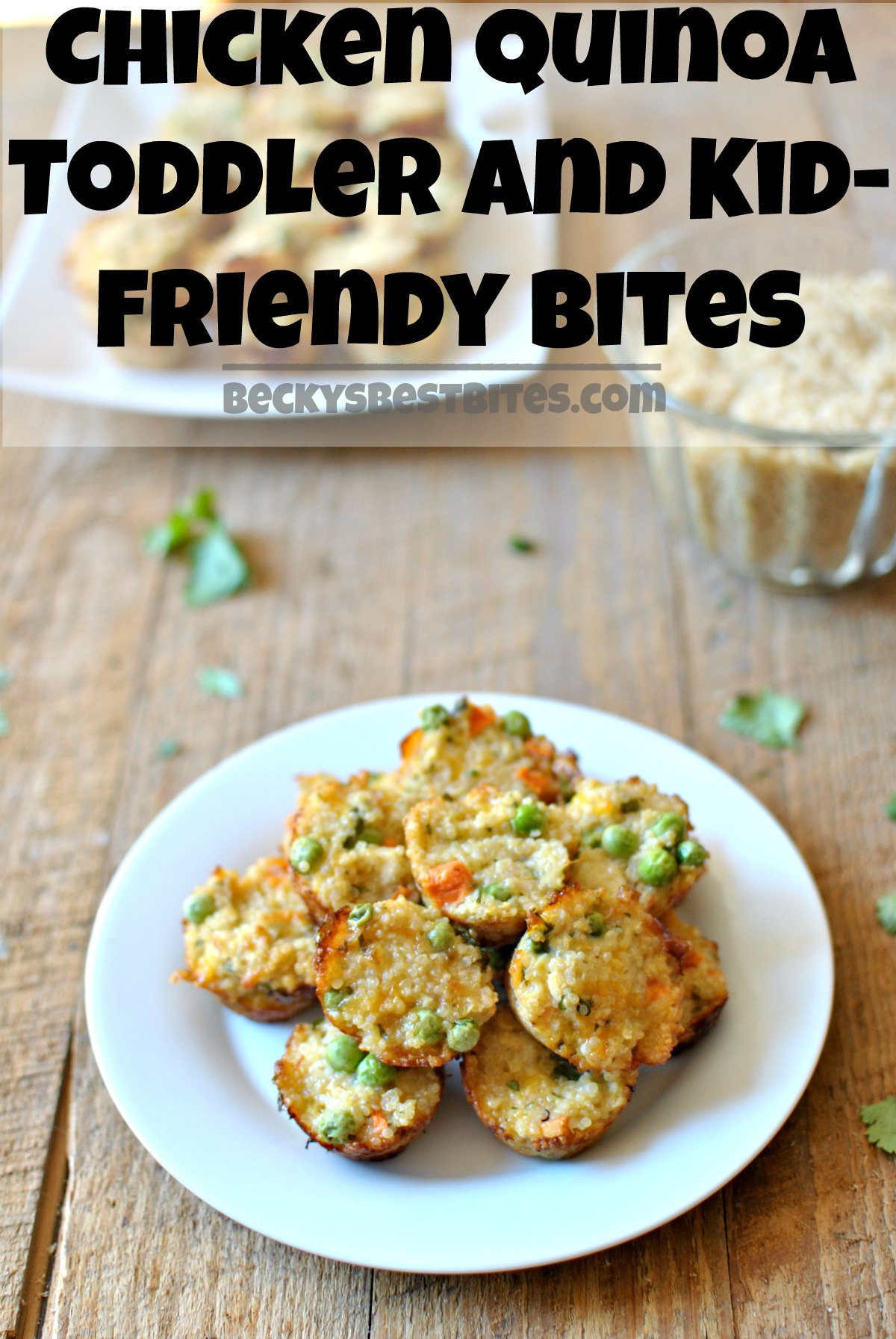 Chicken Quinoa Toddler and Kid-Friendly Bites are protein and vegetable packed portable nibbles that toddlers and kids will love and parents will enjoy too! beckysbestbites.com #kidfriendly #freezerfriendly #healthyrecipe #toddler #quinoa