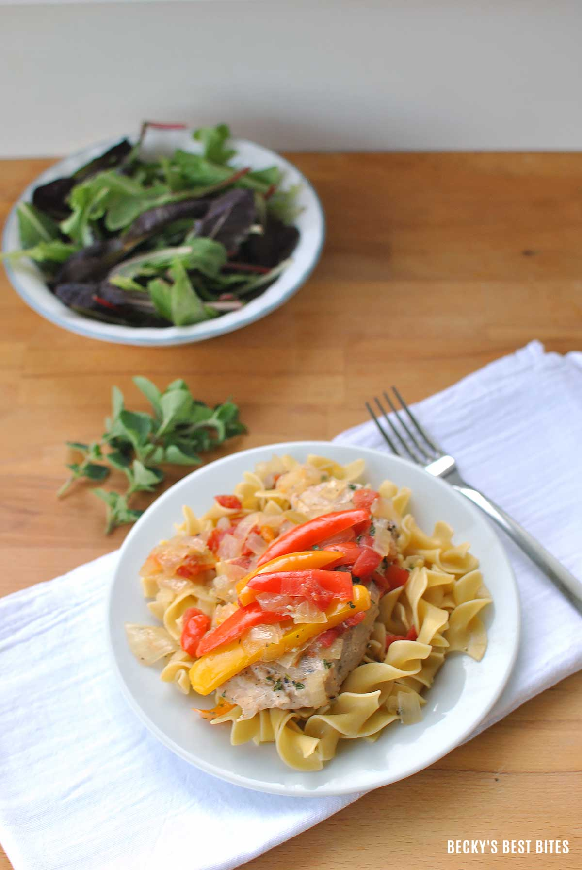 Lean Pork and Sweet Peppers on Noodles is the perfect healthy weeknight dinner recipe. On the table in 30 minutes or less, using simple & fresh ingredients. | Becky's Best Bites
