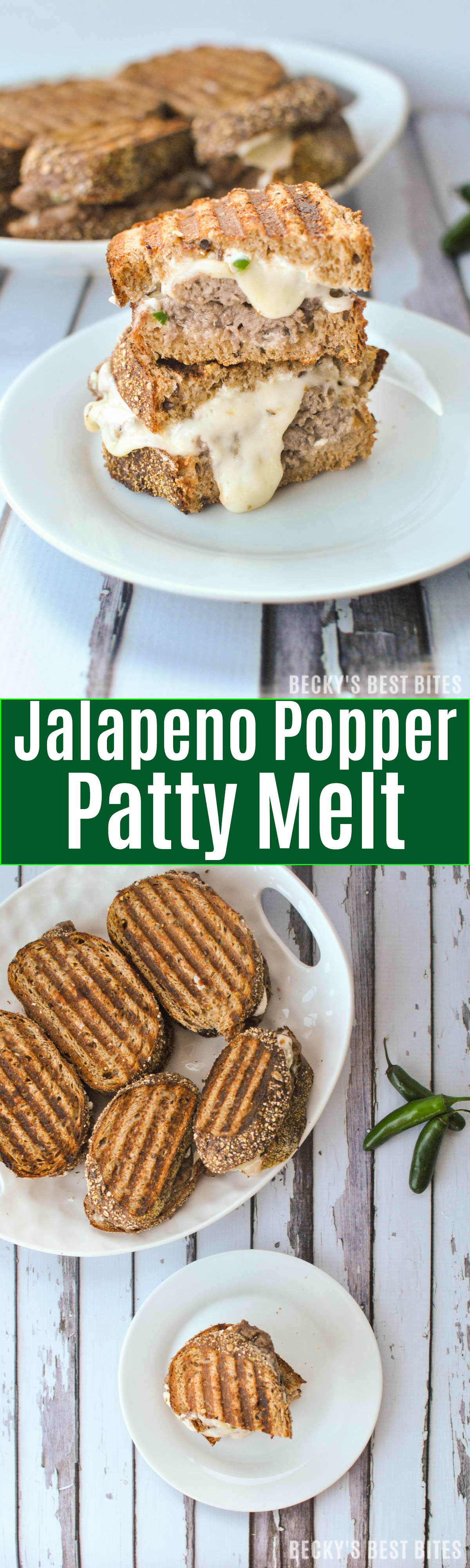 Jalapeño Popper Patty Melt feature jalapeños, cream cheese, greek yogurt, parmesan cheese, whole grain bread, beef & melty cheese for a quick lunch or dinner recipe that guys on the go can enjoy! | beckysbestbites.com