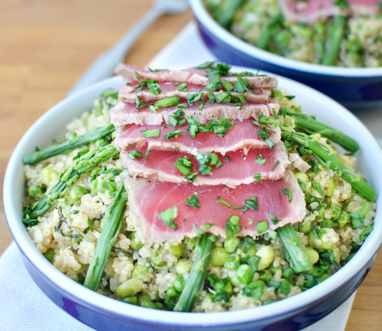 Spring Quinoa Risotto and Seared Ahi Tuna Bowls