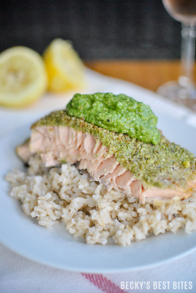 Basil and Dill Pesto Crusted Baked Salmon is a healthy and delicious dinner recipe, suitable for a special occasion but easy enough for any busy weeknight or a Sunday supper! #GloriaFerrer #CLVR #ad | beckysbestbites.com