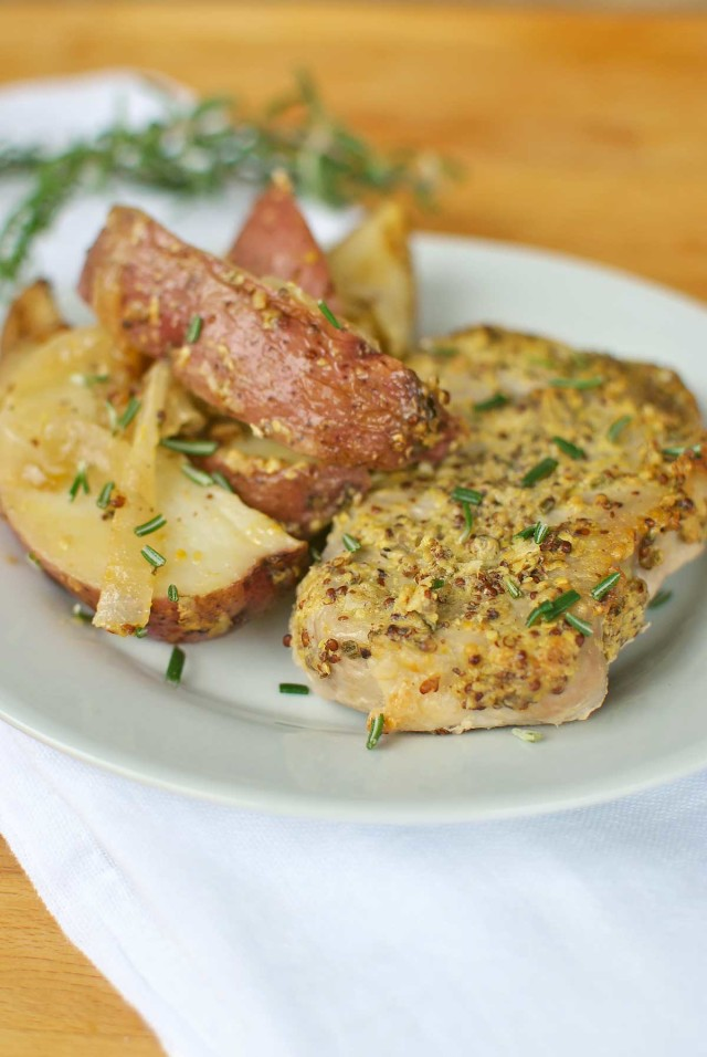 Roasted Rosemary Dijon Pork Chops And Potatoes By Becky S Best Bites