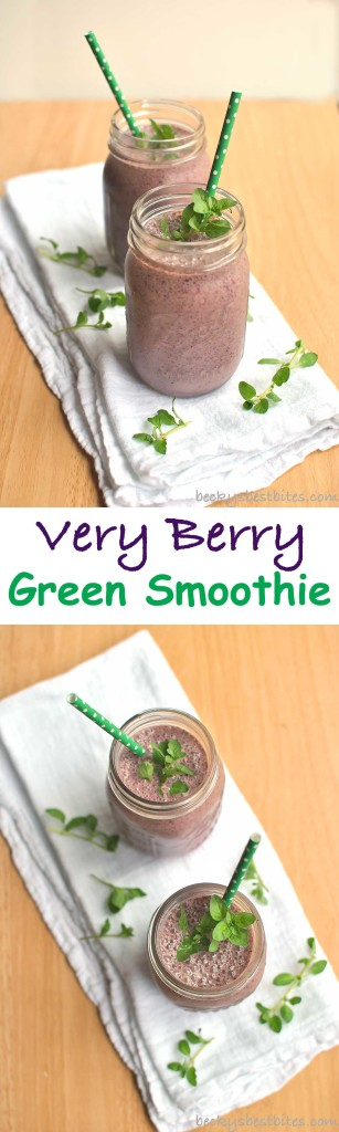 Very Berry Green Smoothie with Liberté Mediterranée Yogurt is a healthy, tasty and refreshing way to start the day. An easy and portable on-the-go breakfast choice as the weather warms up.   Becky's Best Bites