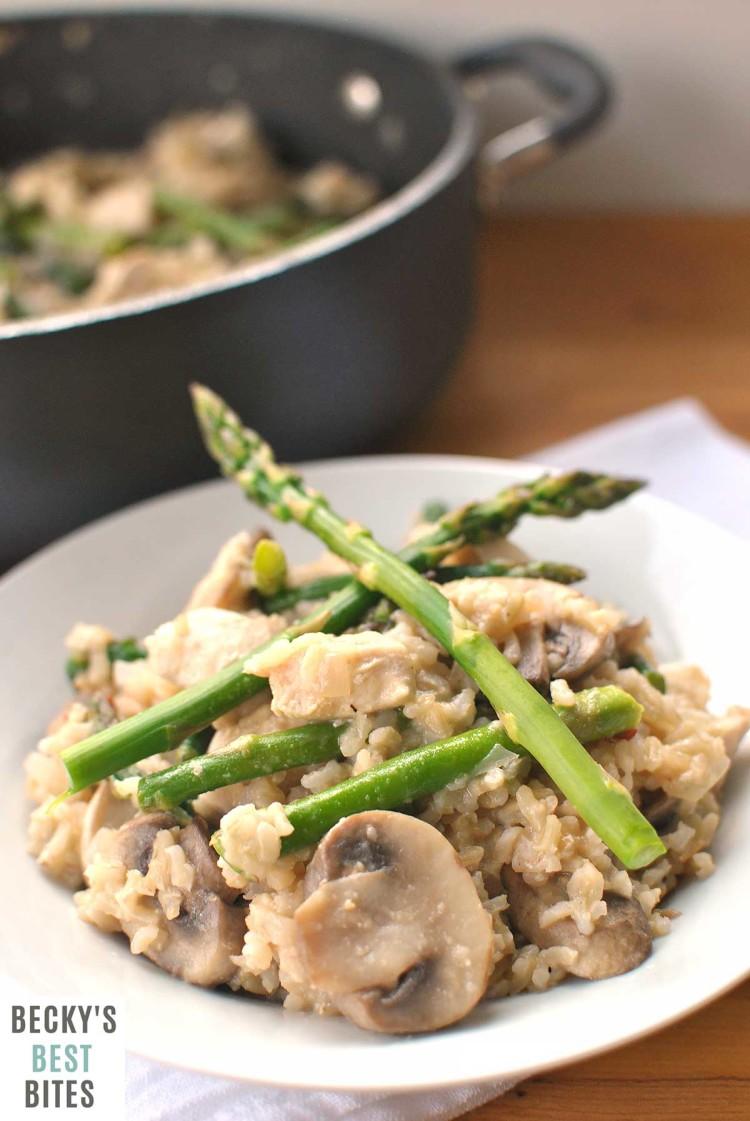 Chicken Mushroom Rice Skillet with Asparagus   beckysbestbites.com
