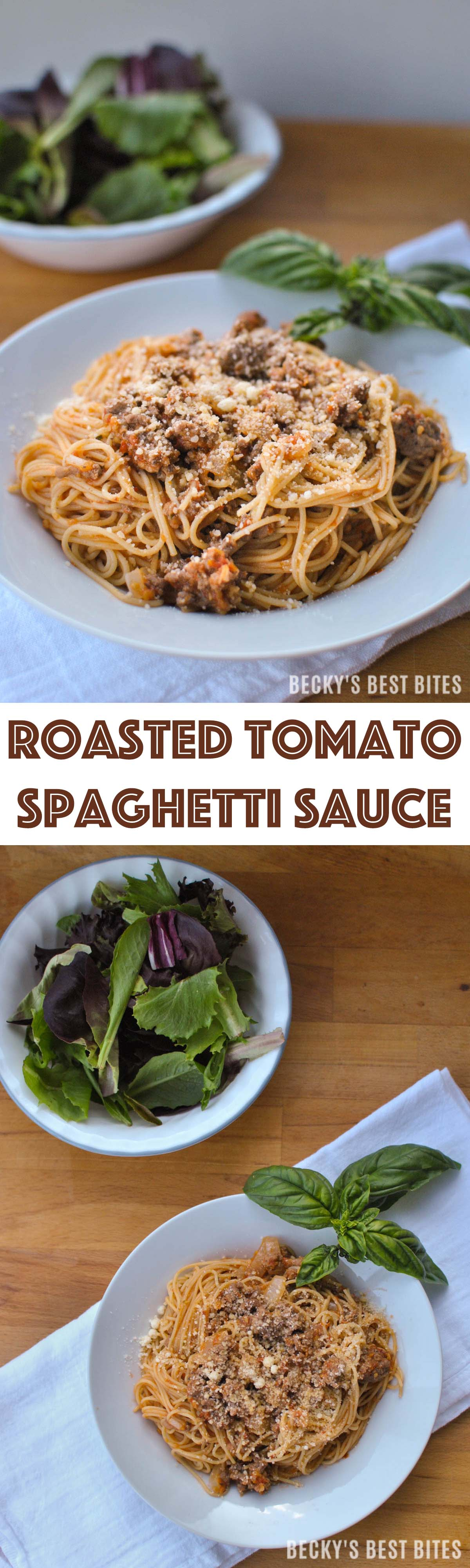 Roasted Tomato Spaghetti Sauce is a dinner recipe for the easiest homemade healthy pasta sauce. Make a meal out of the tomatoes overflowing from your garden. Becky's Best Bites