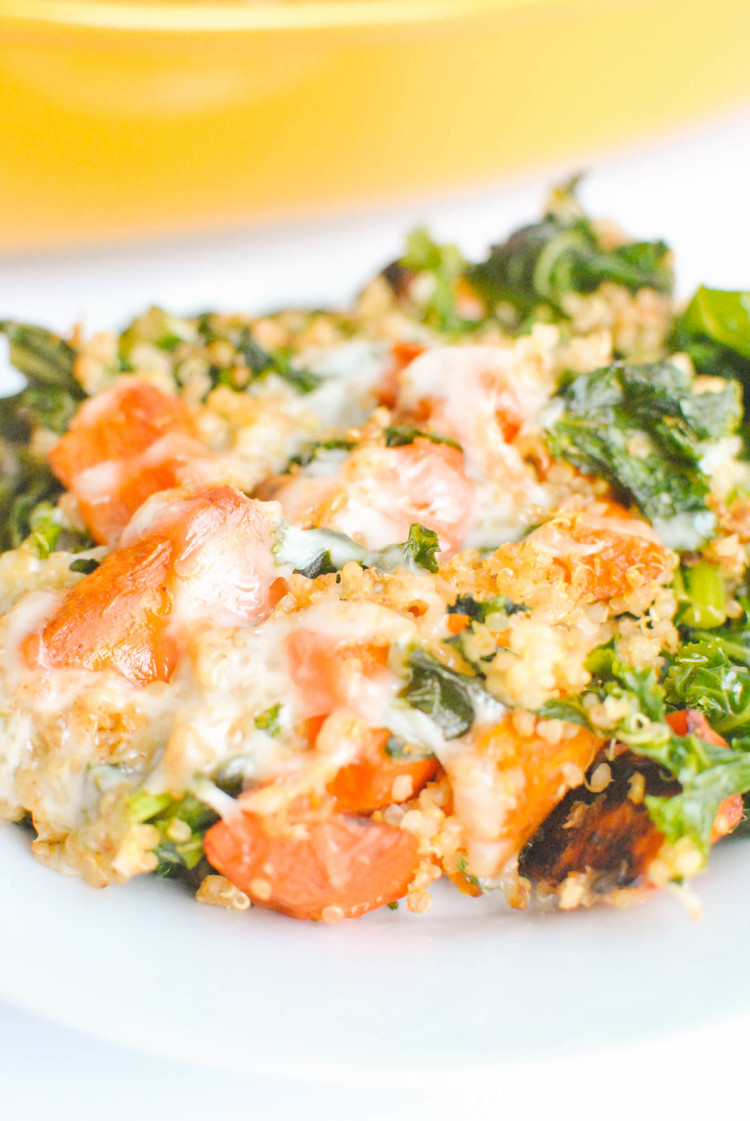 Kale & Roasted Vegetable Quinoa Casserole is a healthy, vegetarian, comfort food recipe that is great as a side dish or main meal. The leftovers make for fun lunches that will make your co-workers jealous ;) | beckysbestbites.com