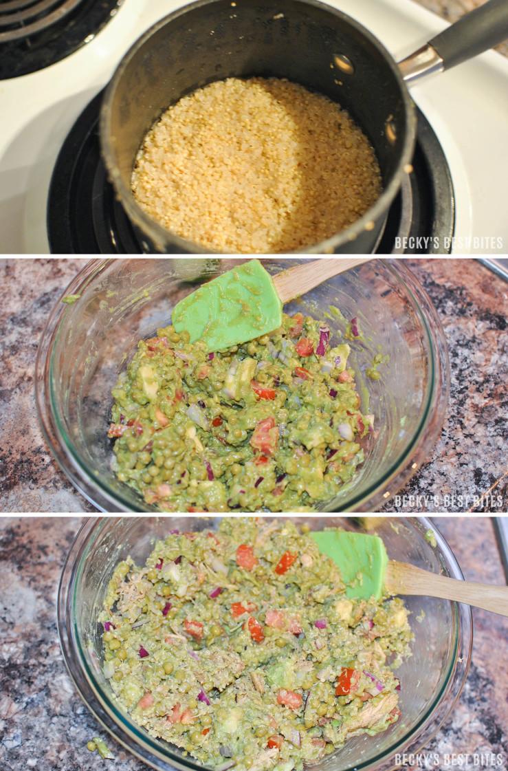 Guacamole Quinoa Chicken Wrap prep collage