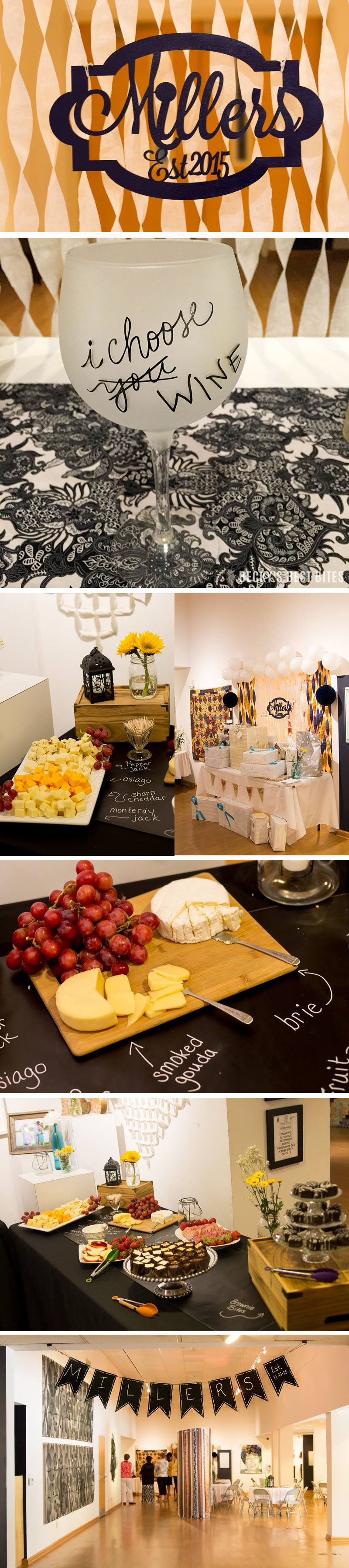 My Bridal Shower was everything that I could have dreamed of and more! Wine & cheese themed along with navy and sunflowers that will be used at the wedding. | beckysbestbites.com