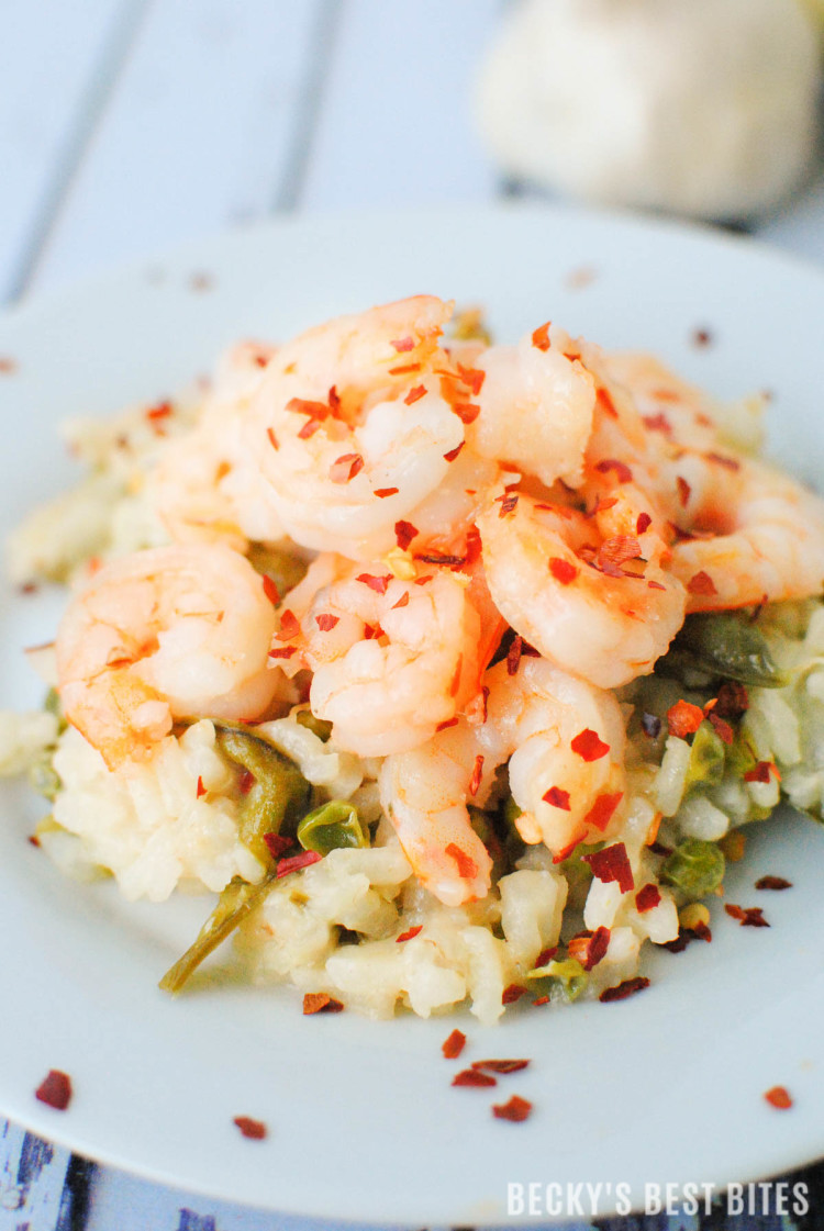 Spicy Shrimp Scampi Risotto with Garden Fresh Peas-3