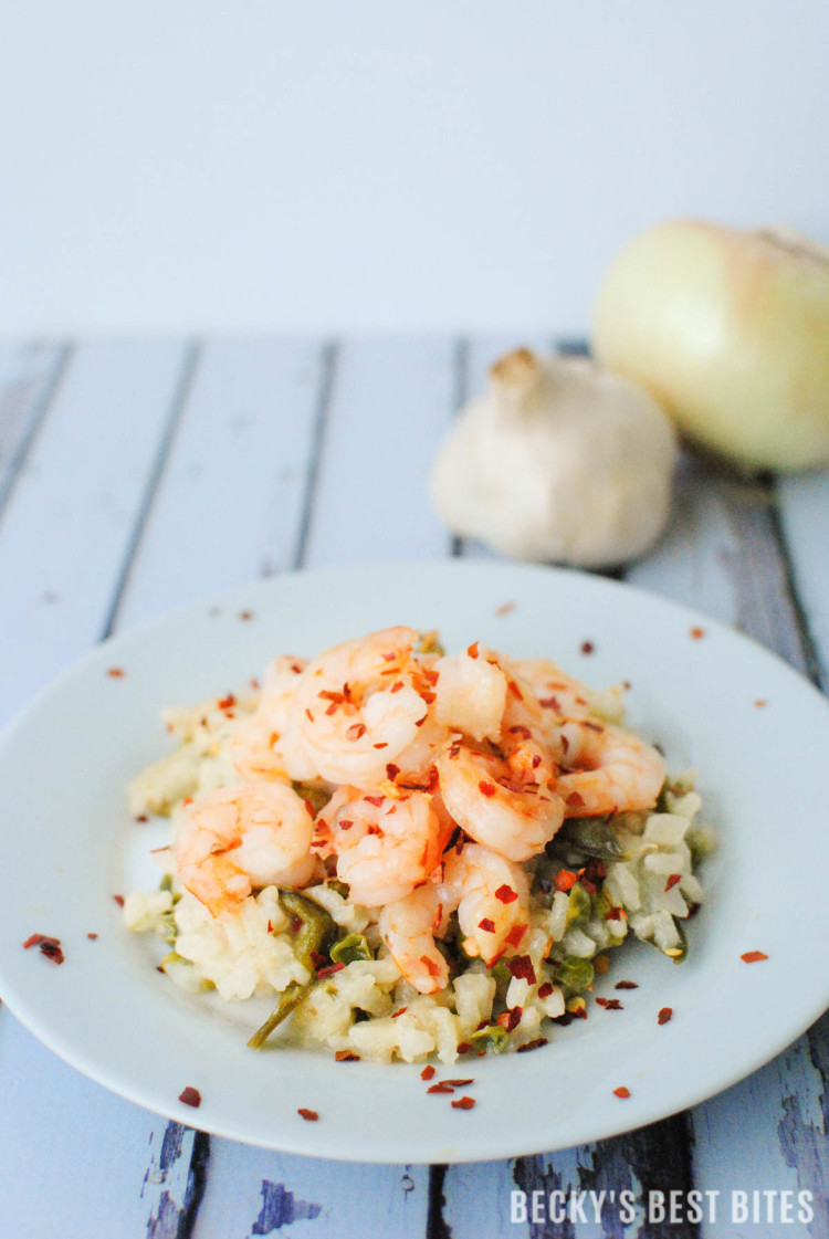 Spicy Shrimp Scampi Risotto with Garden Fresh Peas-5