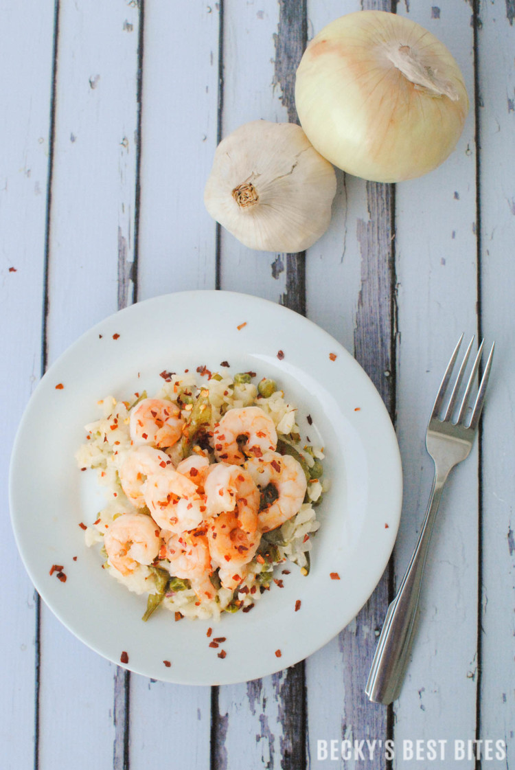 Spicy Shrimp Scampi Risotto with Garden Fresh Peas