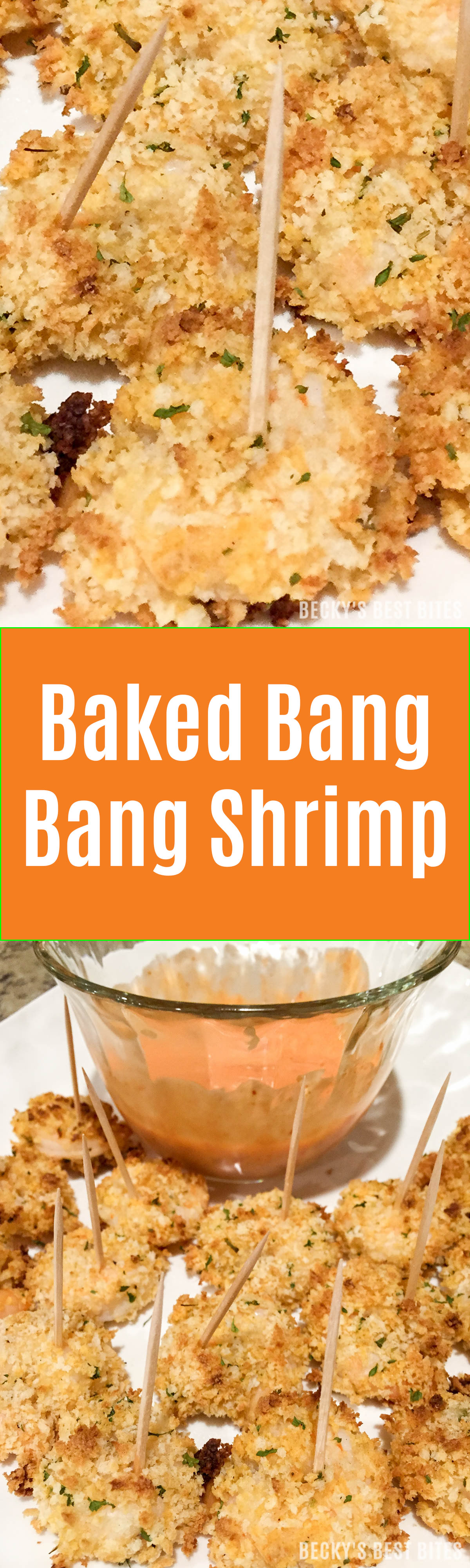 Baked Bang Bang Shrimp is a healthier version of the popular restaurant appetizer. Try this spicy shrimp with a crispy panko breadcrumb crust appetizer recipe for your next game day spread! | beckysbestbites.com