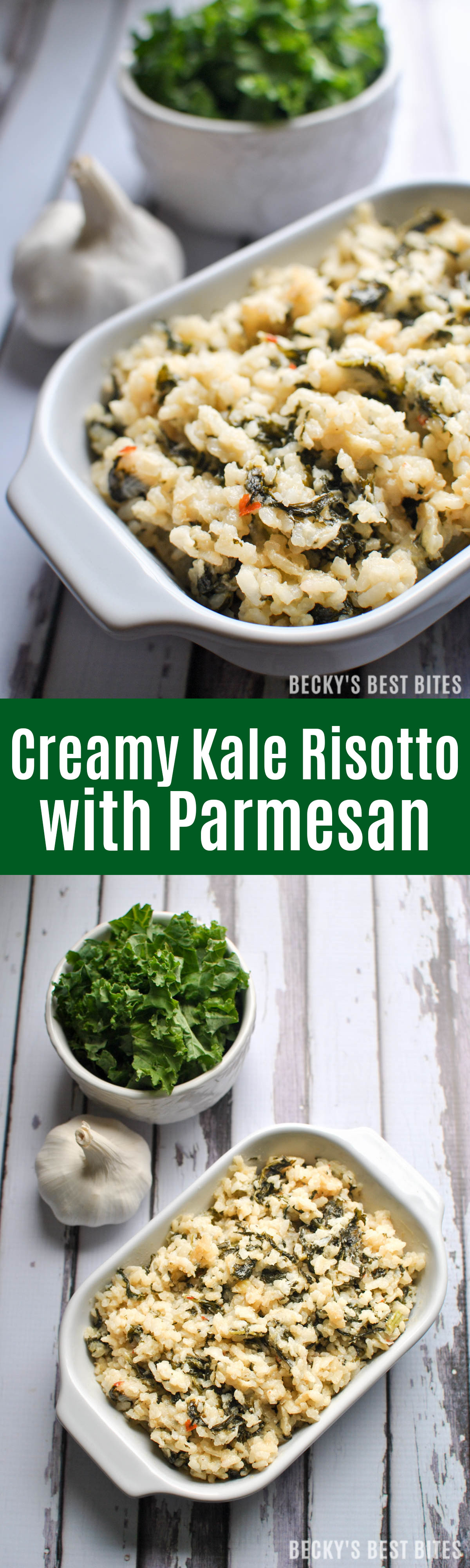 Creamy Kale Risotto with Parmesan is made without butter or cream. A healthy dinner recipe as a side with a lean protein or as a yummy vegetarian main dish. | beckysbestbittes.com