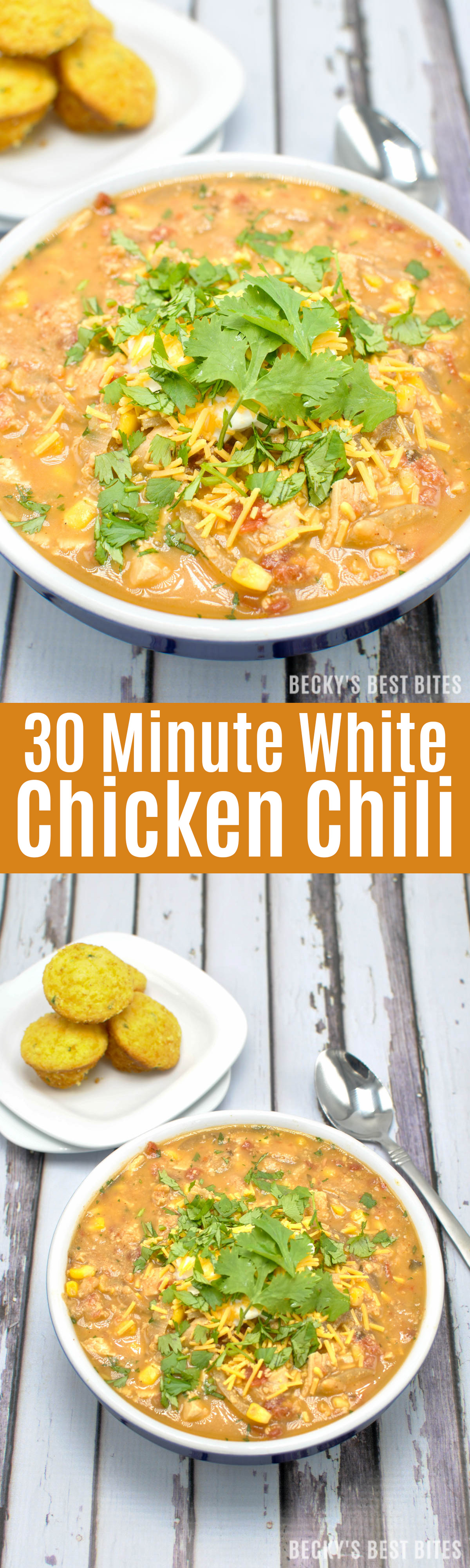 30 Minute White Chicken Chili is packed with lean chicken breast, beans, corn, tomatoes, green chilis, smoky spices and fresh cilantro for any game day spread and perfect for the coldest of winter nights! | beckysbestbites.com