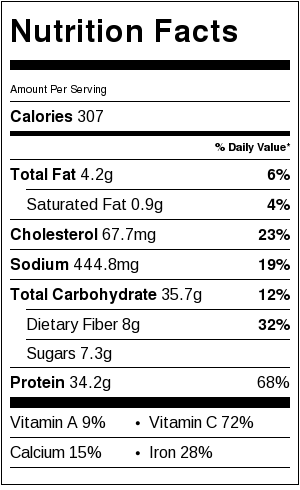 30 Minute White Chicken Chili nutritional information