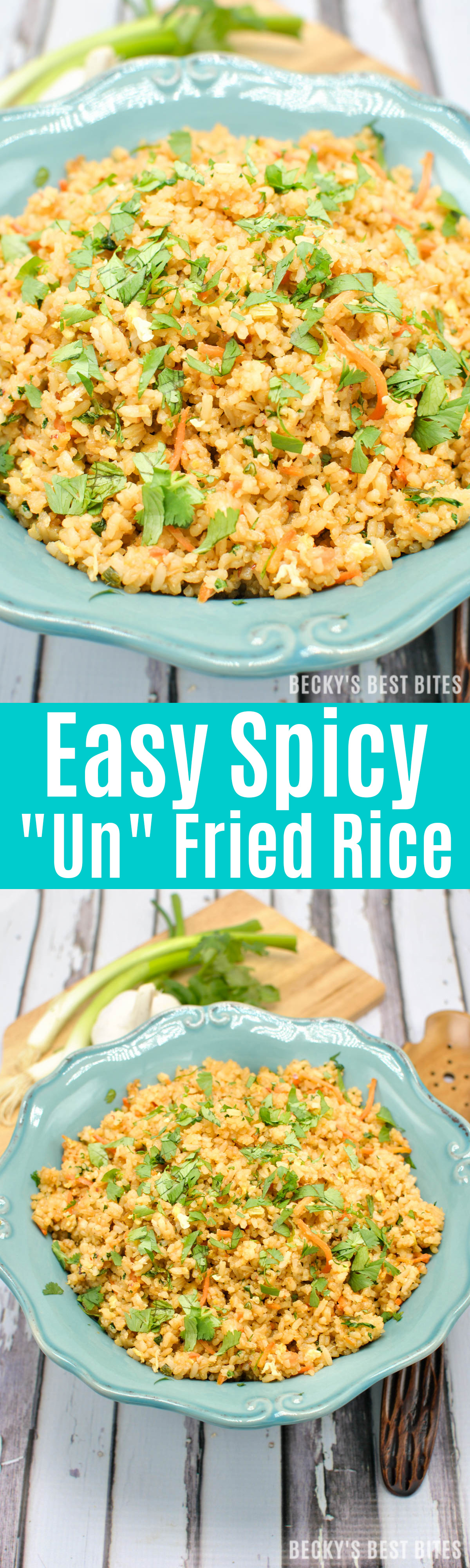 Easy Spicy Unfried Rice is healthy recipe makeover for the classic take-out favorite with all the classic flavors. Brown rice, less oil, more vegetables make this side dish more nutritious! | beckysbestbites.com