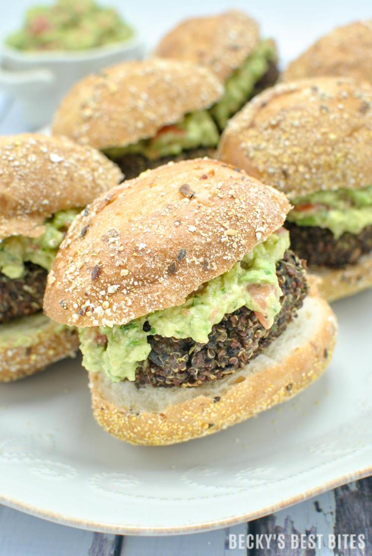 Red Quinoa and Black Bean Sliders with Easy Guacamole Spread | beckysbestbites.com