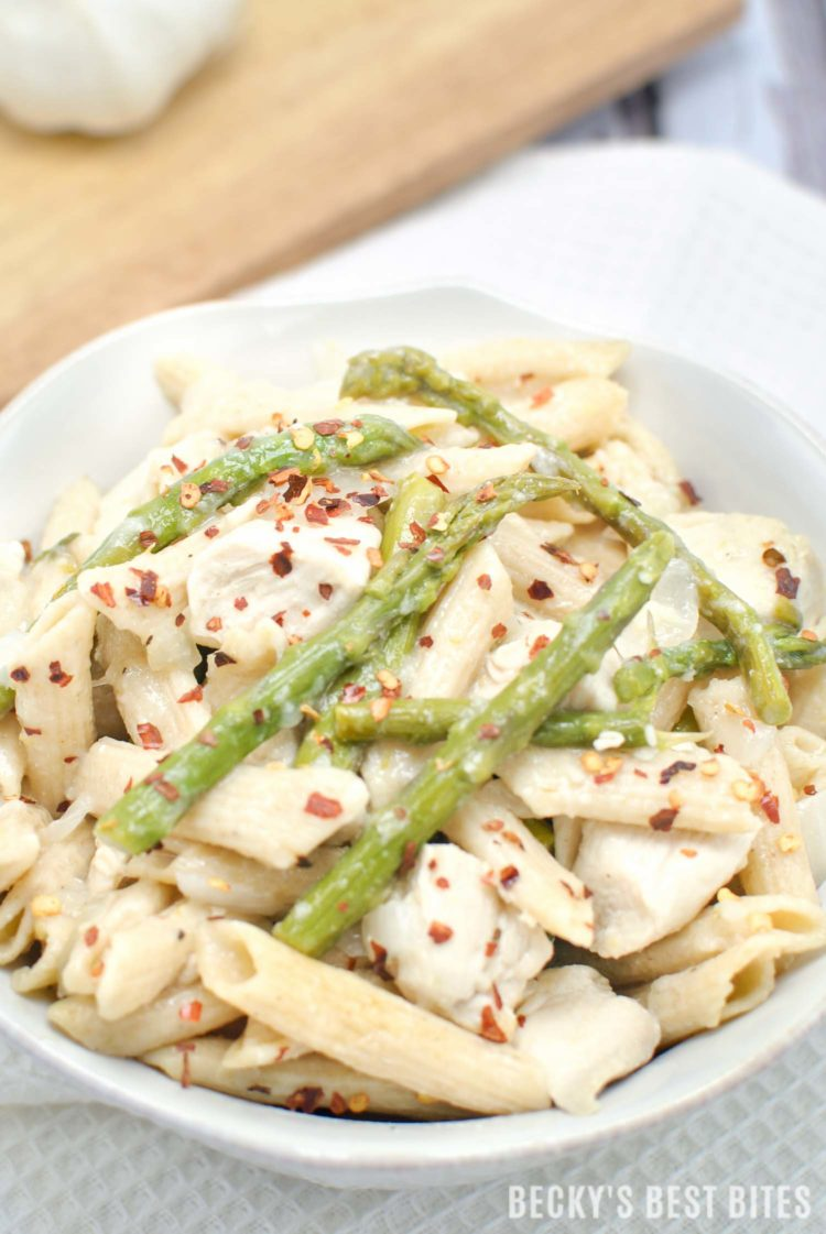 Lemon garlic chicken pasta with asparagus beckys best bites easy lemon garlic chicken pasta with asparagus is a healthy weeknight dinner recipe with fresh forumfinder Images