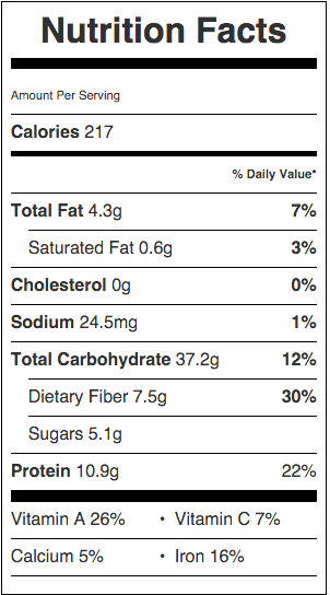Nutritional information for Spicy Farro Salad with Edamame and Carrots   beckysbestbites.com