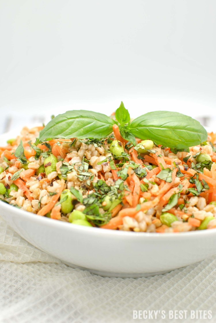 Spicy Farro Salad with Edamame and Carrots is a vegan, high protein, high fiber vegetarian main meal or non-vegetarian side dish perfect for the Spring/Summer months!   beckysbestbites.com