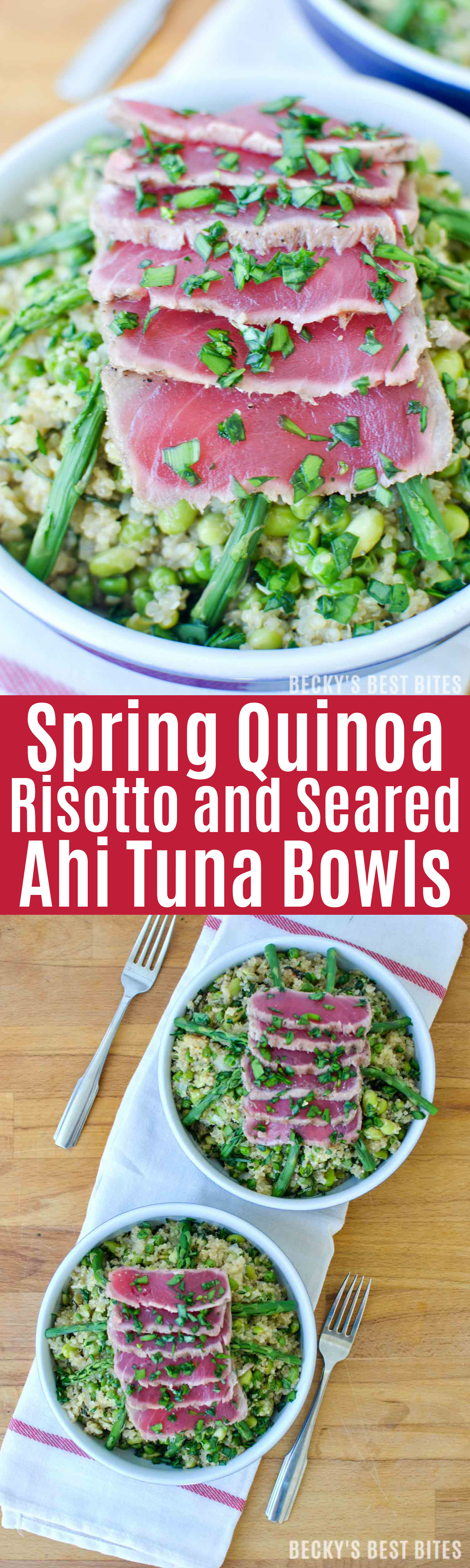 Spring Quinoa Risotto and Seared Ahi Tuna Bowls combine edamame, asparagus and arugula in a creamy rice dish topped with sushi quality,