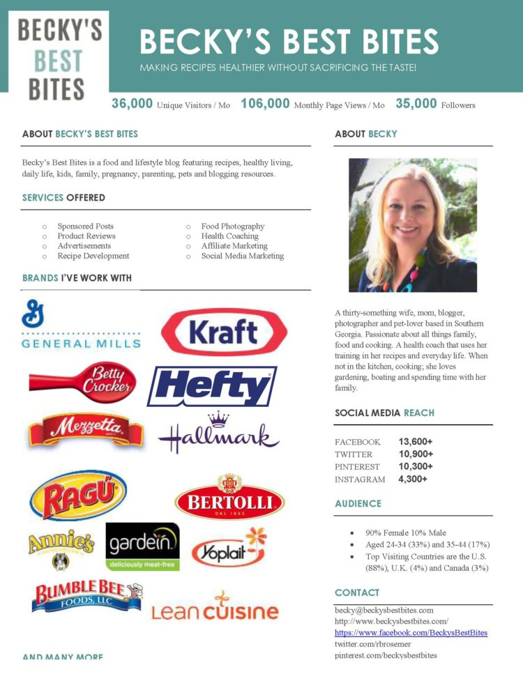 Becky's Best Bites Media Kit February 2017