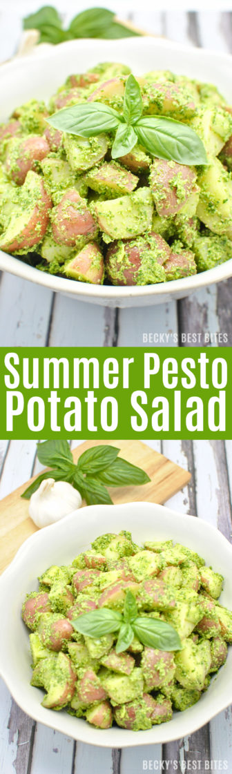 Summer Pesto Potato Salad is a healthy side that is perfect for any BBQ, cookout or other outdoor entertaining or party that you are having this holiday weekend. Impress your guests with this easy dish that is sure to please! | beckysbestbites.com