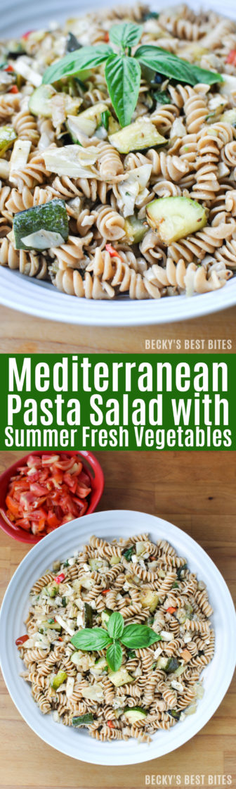 Mediterranean Pasta Salad with Summer Fresh Vegetables is an easy and healthy side dish recipe perfect for grilling, BBQ, picnics or other summer gatherings using garden or farmer's market produce and whole grain pasta! | beckysbestbites.com