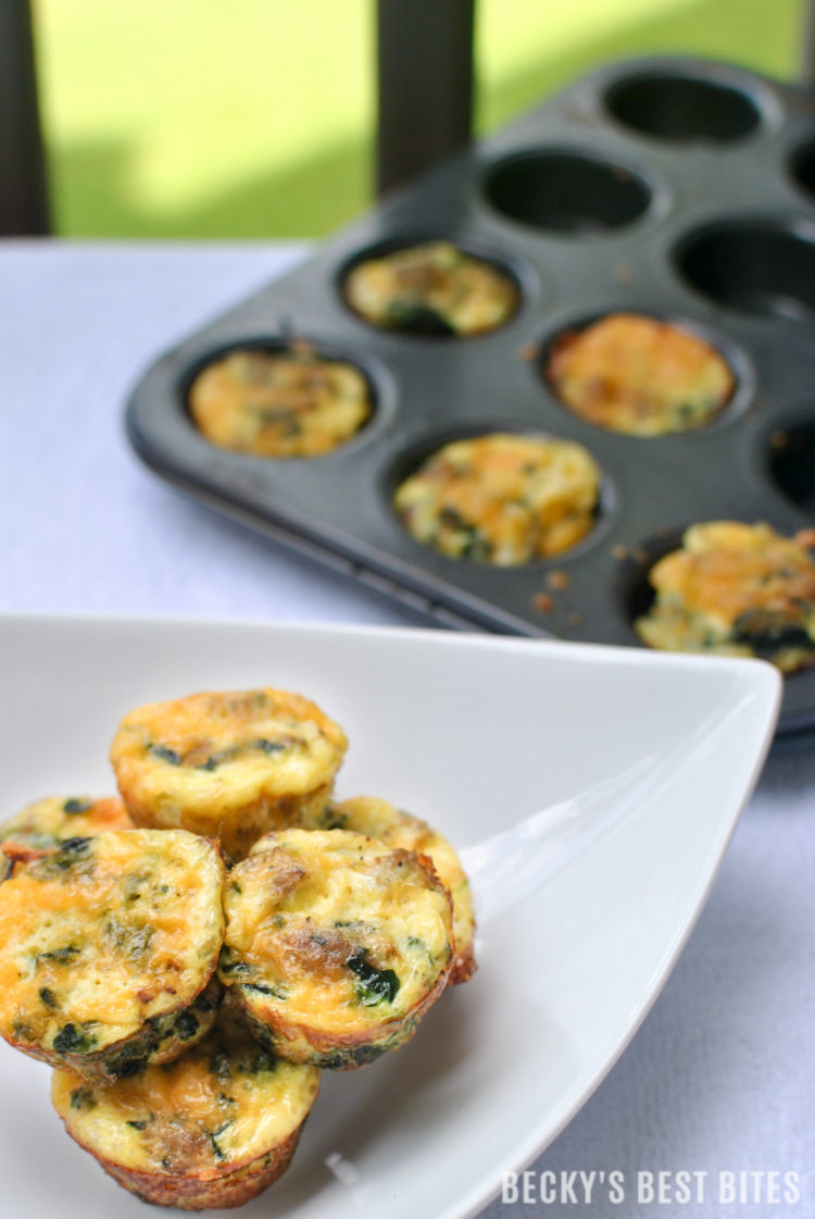 Mini Egg Muffin Bites with Spinach and Turkey Sausage | beckysbestbites.com