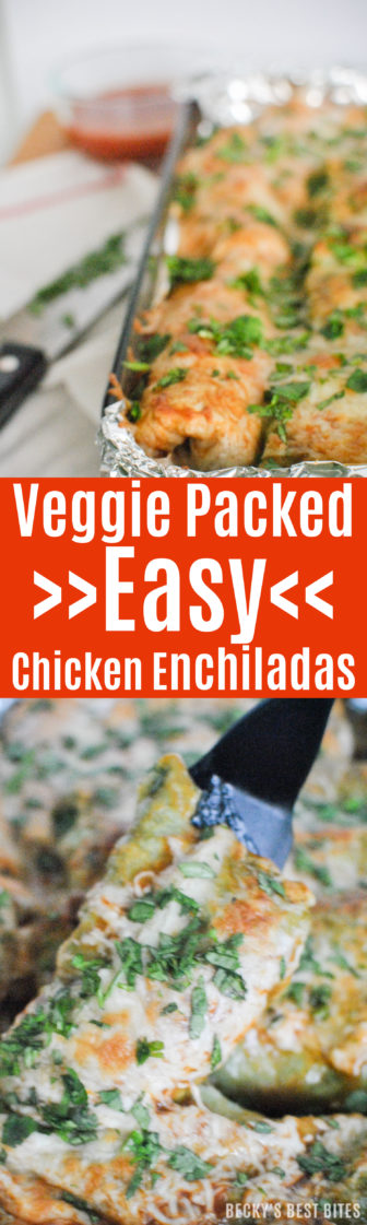 #ad Veggie Packed Easy Chicken Enchiladas are perfect for family weeknight dinner & ready in 30 minutes. Be a kitchen pro and make cleanup a breeze by lining the pan with Glad™ Aluminum Foil before baking. #sk   beckysbestbites.com