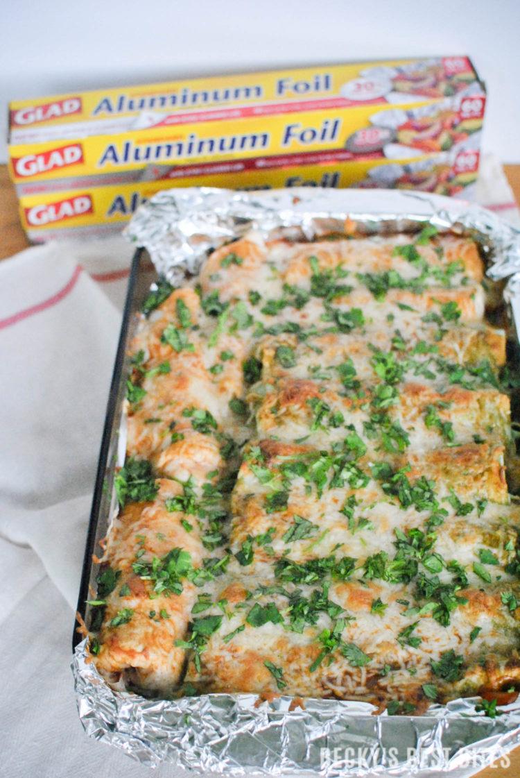 Veggie Packed Easy Chicken Enchiladas with Glad™ Aluminum Foil   beckysbestbites.com