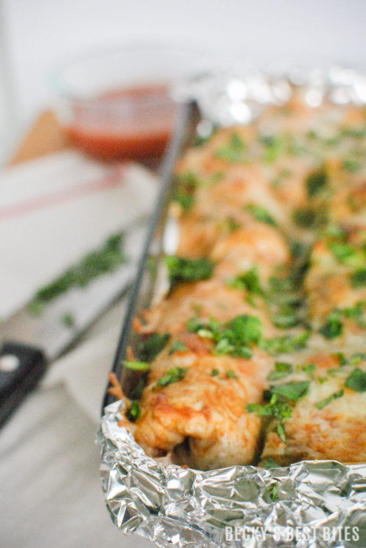 Veggie Packed Easy Chicken Enchiladas with Glad™ Aluminum Foil