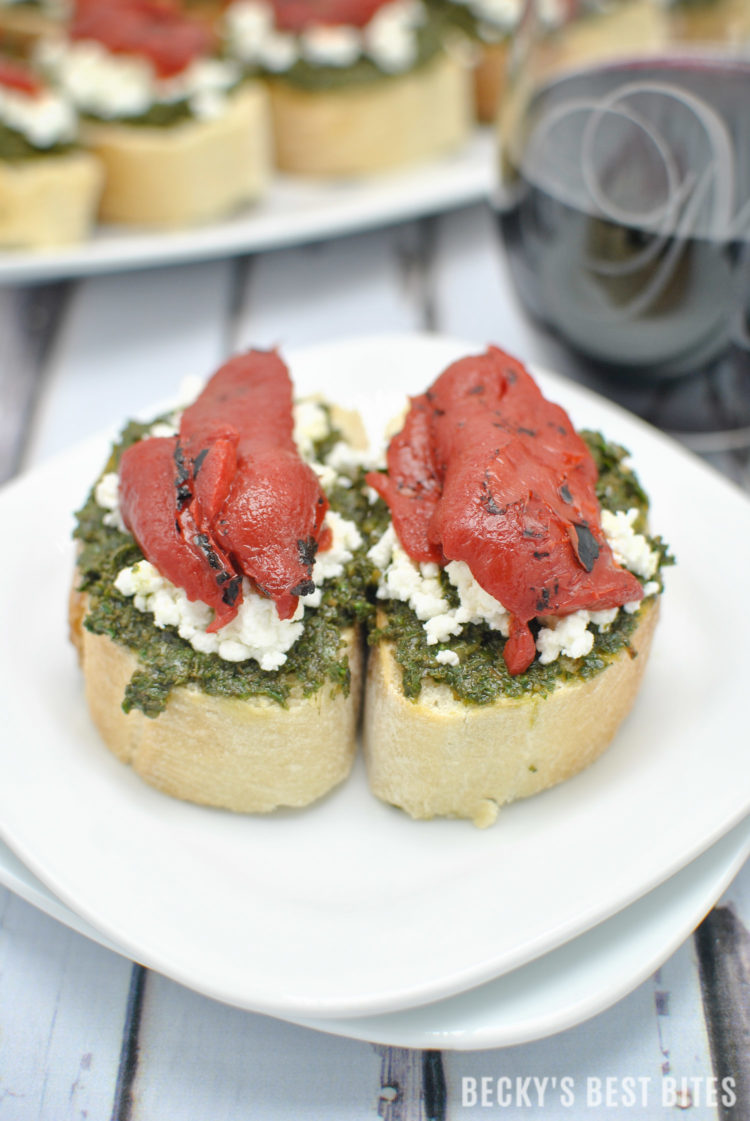 Kale Pesto Goat Cheese Crostini with Roasted Red Pepper + Wines of Garnacha | beckysbestbites.com