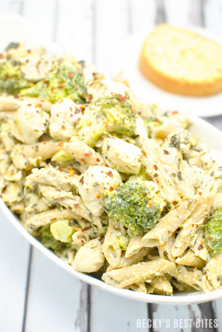 Cheesy Chicken, Spinach and Artichoke Pasta with Broccoli | beckysbestbites.com