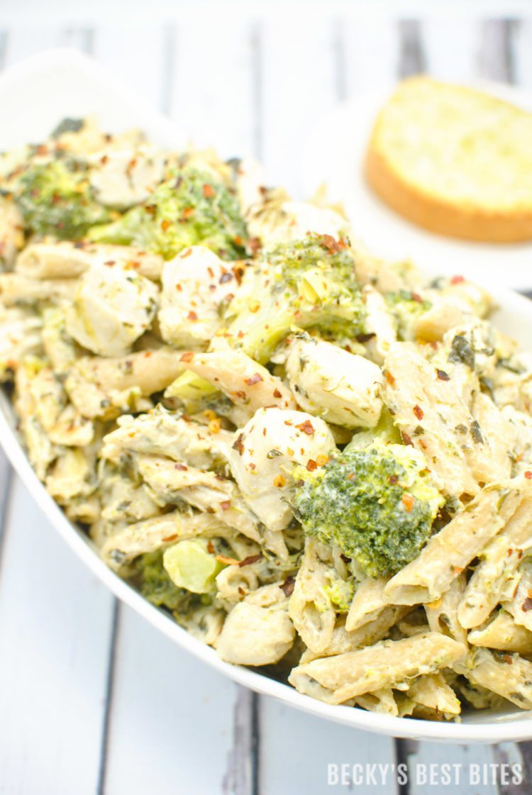 chicken spinach and artichoke pasta | beckysbestbites.com