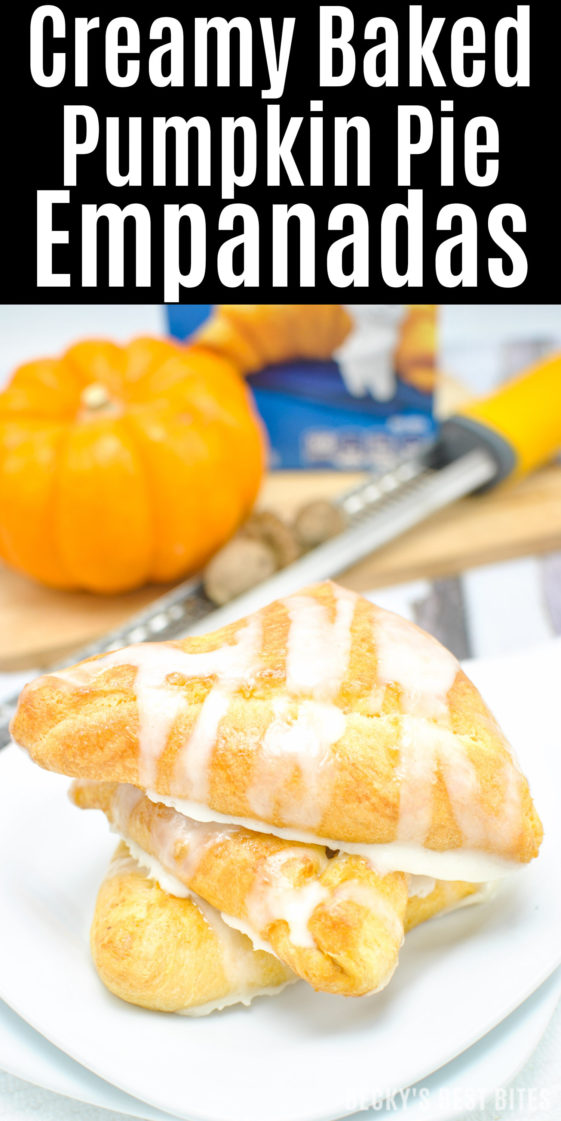 #ad Creamy Baked Pumpkin Pie Empanadas is healthier and easy dessert recipe perfect for Holiday entertaining made with a trusted brand, Pillsbury Crescent Rolls. They are mini kid-approved treats with all the flavors of the fall season and pumpkin pie while saving time to spend with family.#ItsBakingSeason | beckysbestbites.com