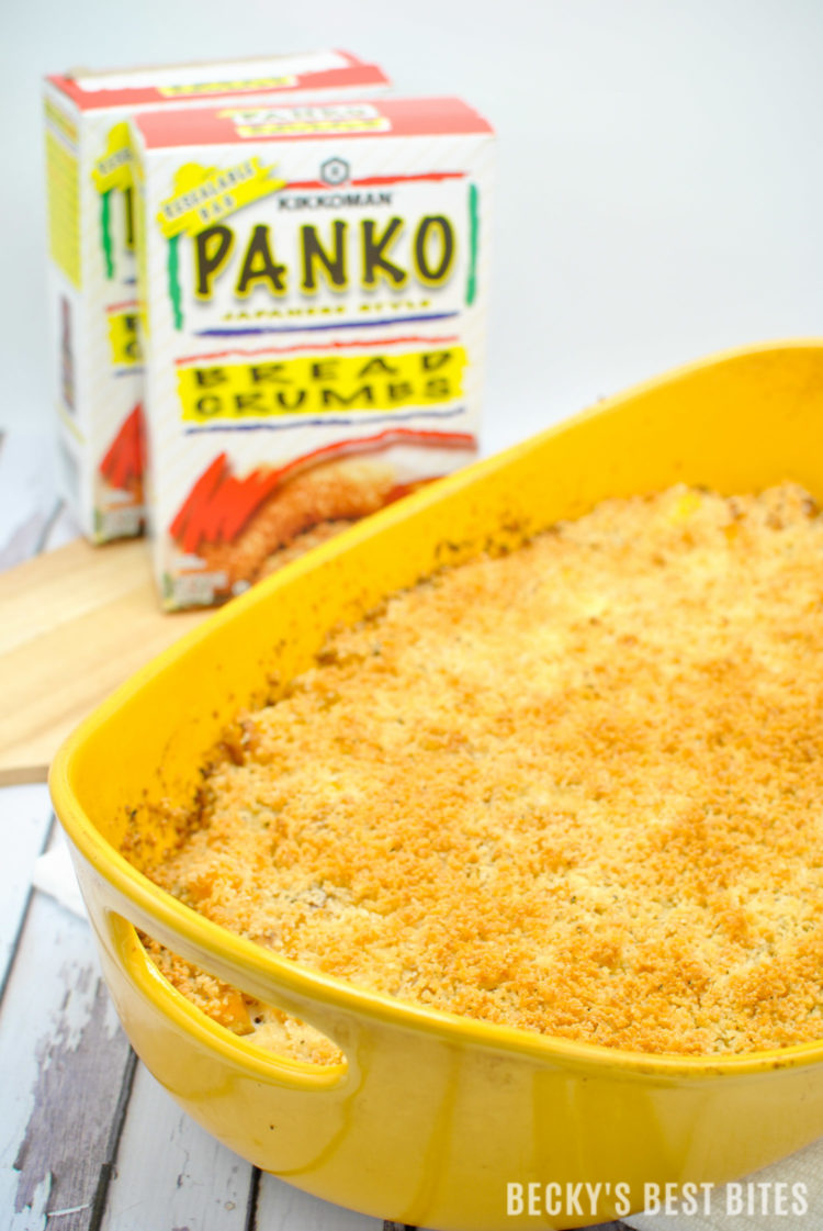 Healthier Butternut Squash Casserole with Panko Parmesan Breadcrumb Topping | beckysbestbites.com