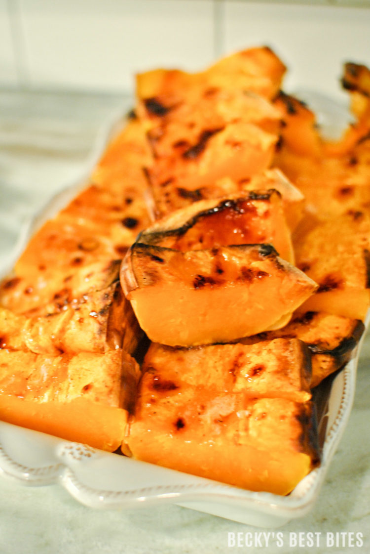 Easiest Roasted Butternut Squash is a simple and healthy holiday side dish recipe. No peeling, 5 minutes of prep work and let the oven do the rest of the work for this wholesome addition to your festive menu! beckysbestbites.com