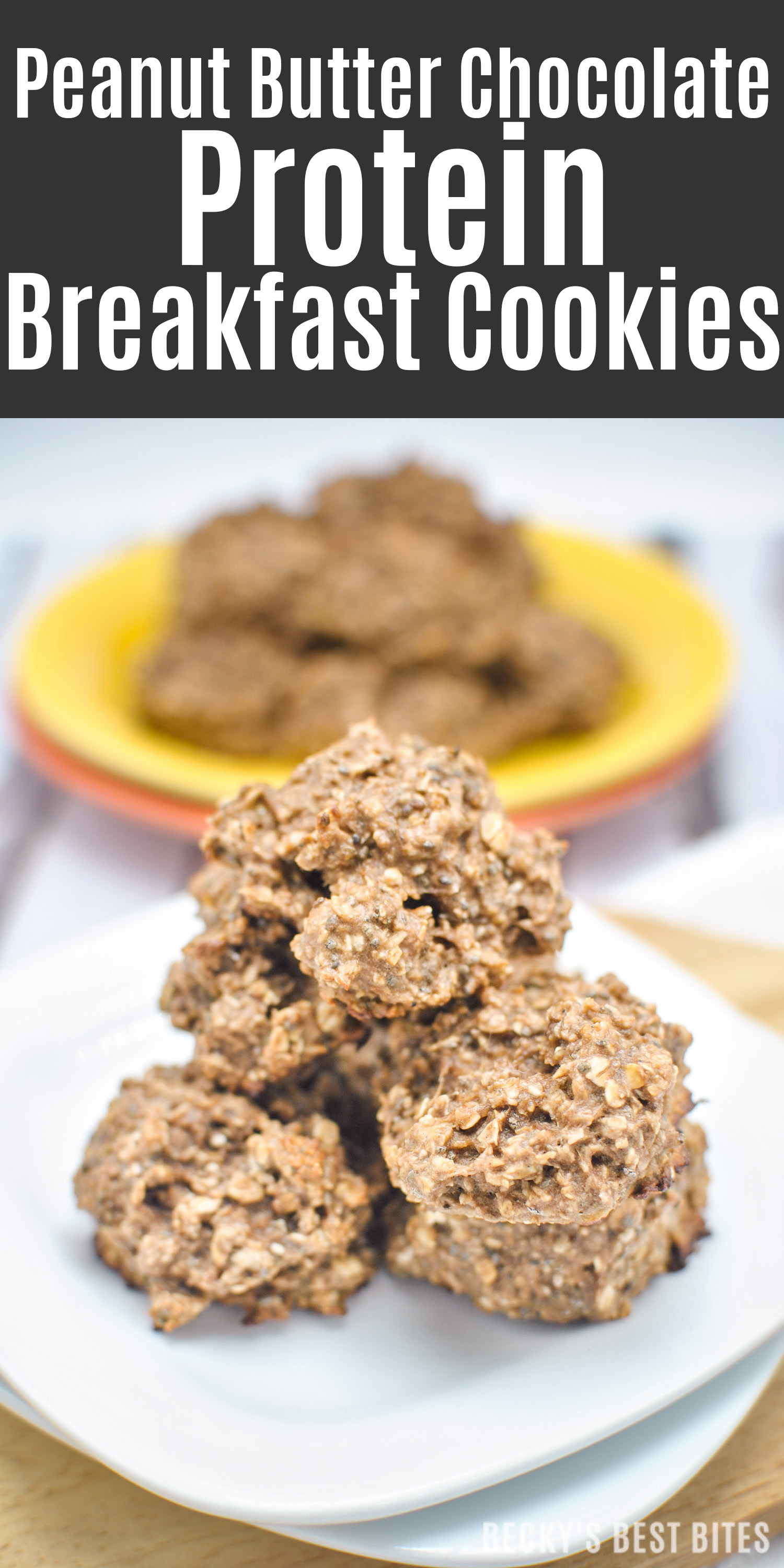 Peanut Butter Chocolate Protein Breakfast Cookies are a super easy & healthy recipe containing no added sugar or flour, limited ingredients & they are fresh out of the oven and ready in 15 minutes! | beckysbestbites.com
