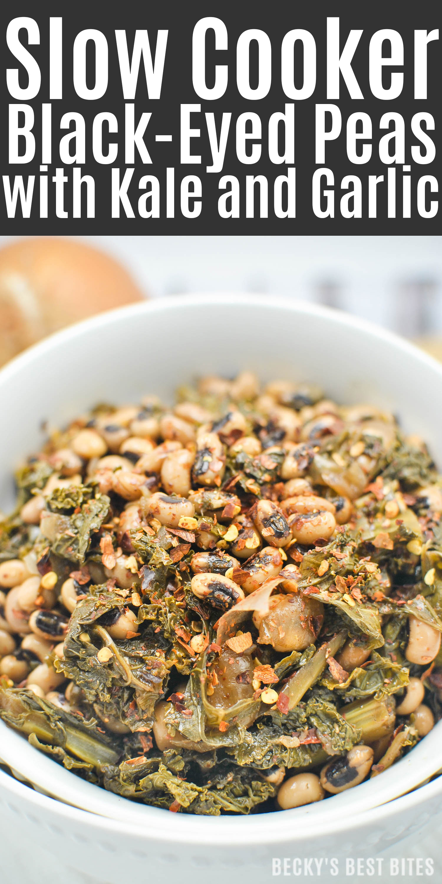 Slow Cooker Black-Eyed Peas with Kale and Garlic is an easy, tasty vegan recipe to kick off your healthy living/eating New Year's resolutions! Serve it as a vegetarian main dish that will satisfy even meat-eaters or hearty side dish to complement grilled meats.| beckysbestbites.com