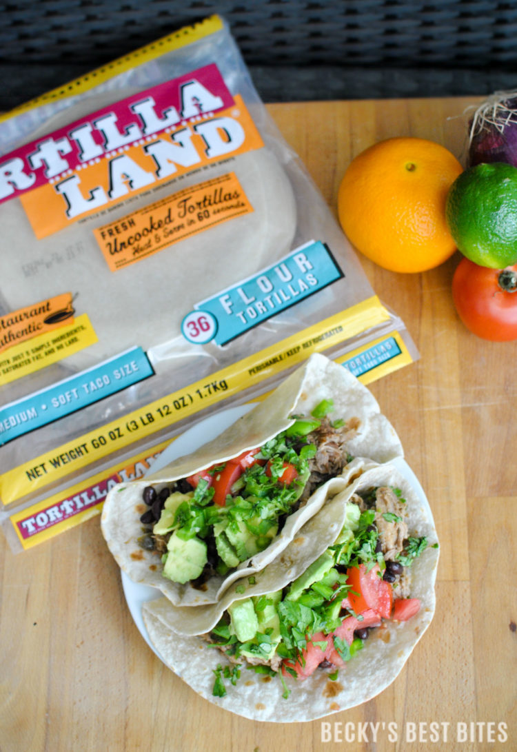 Yummy and Easy Slow Cooker Pork Carnitas Tacos is a fun and festive recipe for Cinco de Mayo or the perfect everyday meal solution using TortillaLand® uncooked flour tortillas from @Costco! #ad #GoTortillaLand | beckysbestbites.com