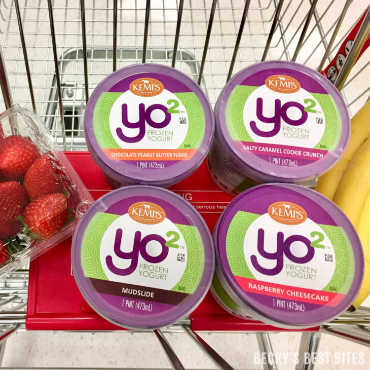 Kemps Yo² Frozen Yogurt Swirl Sandwiches are a fun and delicious way to indulge and treat yourself while not feeling guilty! Kemps Yo² has a clean label: NO high fructose corn syrup, NO artificial flavors, and NO artificial growth hormones! #ad #Yo2 #ItsTheCows | beckysbestbites.com