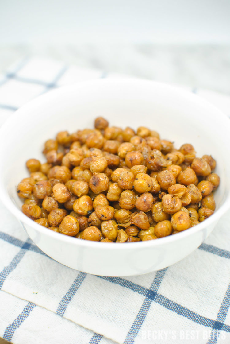 Easy Oven Roasted Chickpeas are a low calorie, protein and fiber rich snack or a nutritious crunchy topping for your favorite salad. | beckysbestbites.com