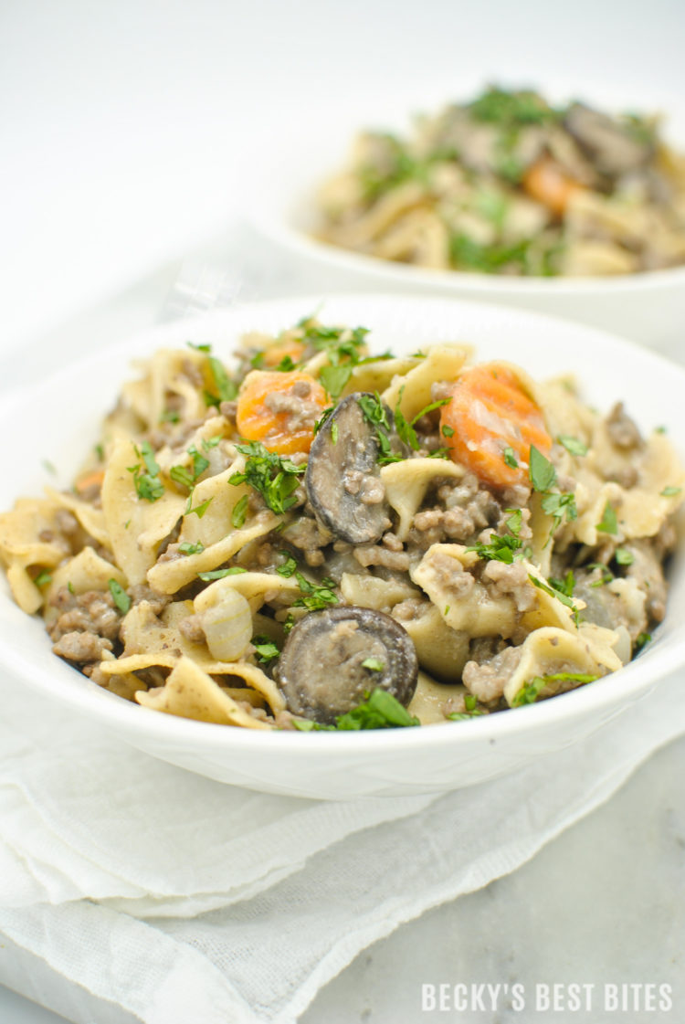 Lean Ground Beef Stroganoff is a healthy weeknight dinner recipe, ready in 30 minutes. Just a few easy and healthier swaps, like greek yogurt and whole grain noodles, make this classic comfort food easier on the waistline. The use of one unique ingredient in this version is the key to the depth of flavor. | beckysbestbites.com