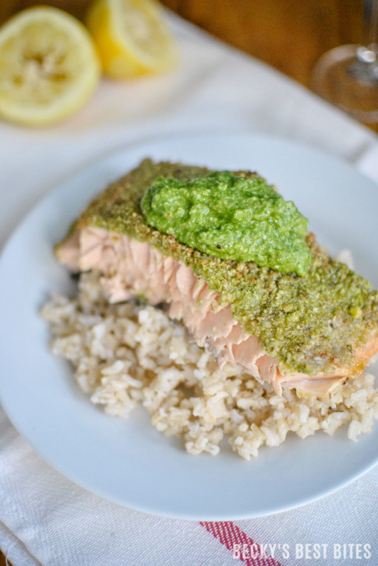 Basil and Dill Pesto Crusted Baked Salmon is a healthy and delicious dinner recipe, suitable for a special occasion but easy enough for any busy weeknight or a Sunday supper! #GloriaFerrer #CLVR #ad