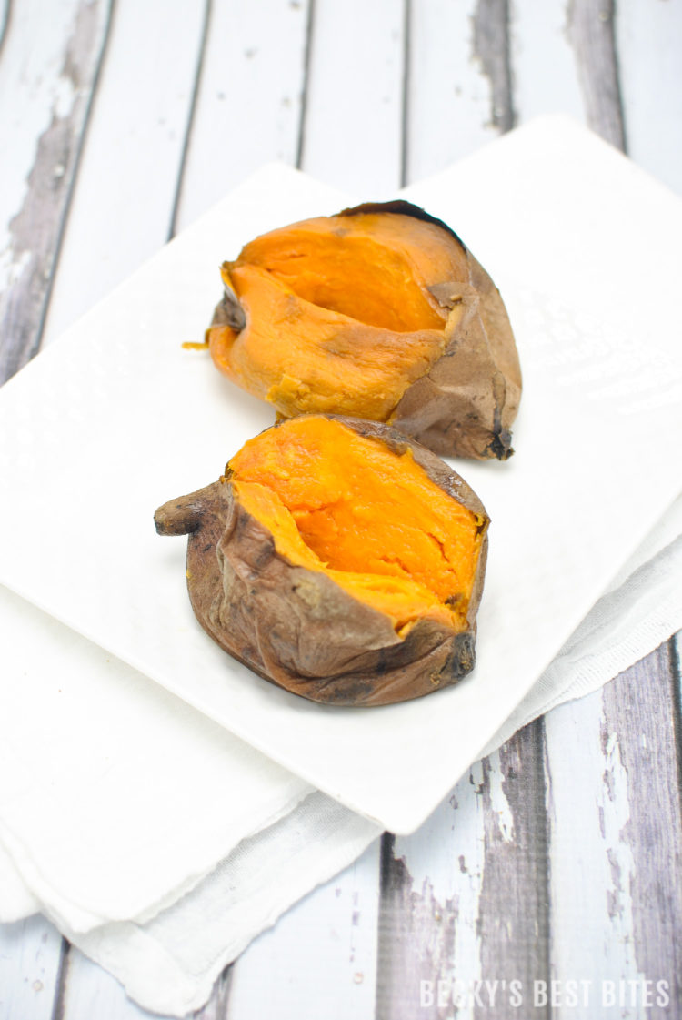 Slow Cooker Sweet Potatoes is the easiest way to cook these antioxidant & fiber rich gems! They are healthy, inexpensive, versatile & readily available too, which makes them a staple in a healthy diet! | beckysbestbites.com