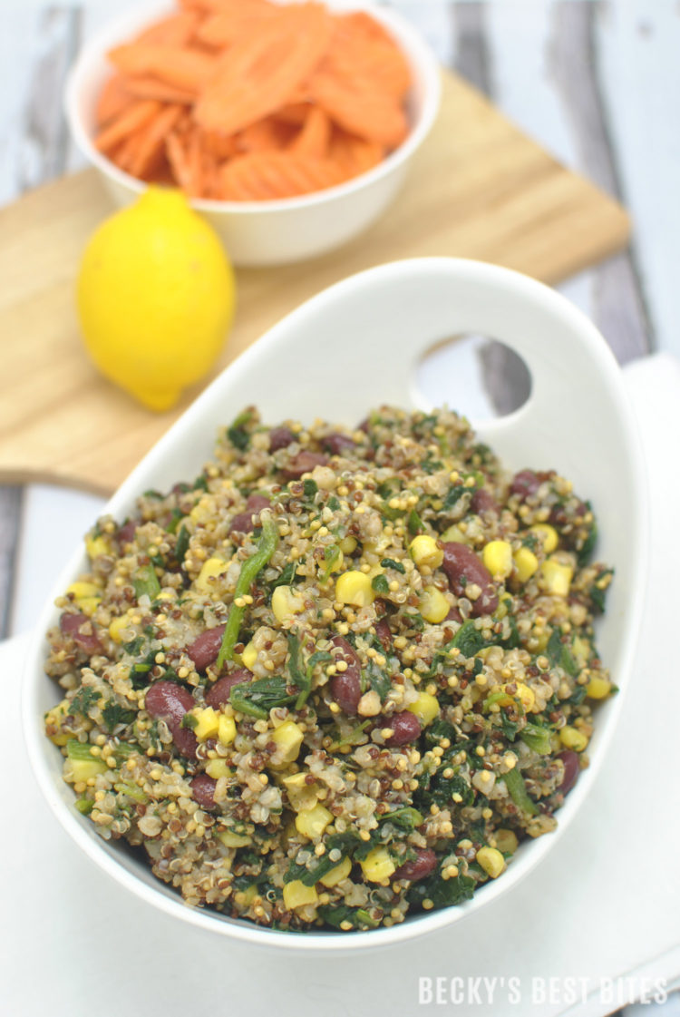 Spinach, Corn, Bean Fiesta Quinoa Bowl with Quick Lemon Dijon Dressing is a quick, easy and healthy vegan lunch or dinner recipe. Super versatile, veggie-filled, protein-rich bowl or salad with zesty summertime flavors that travels well. | beckysbestbites.com