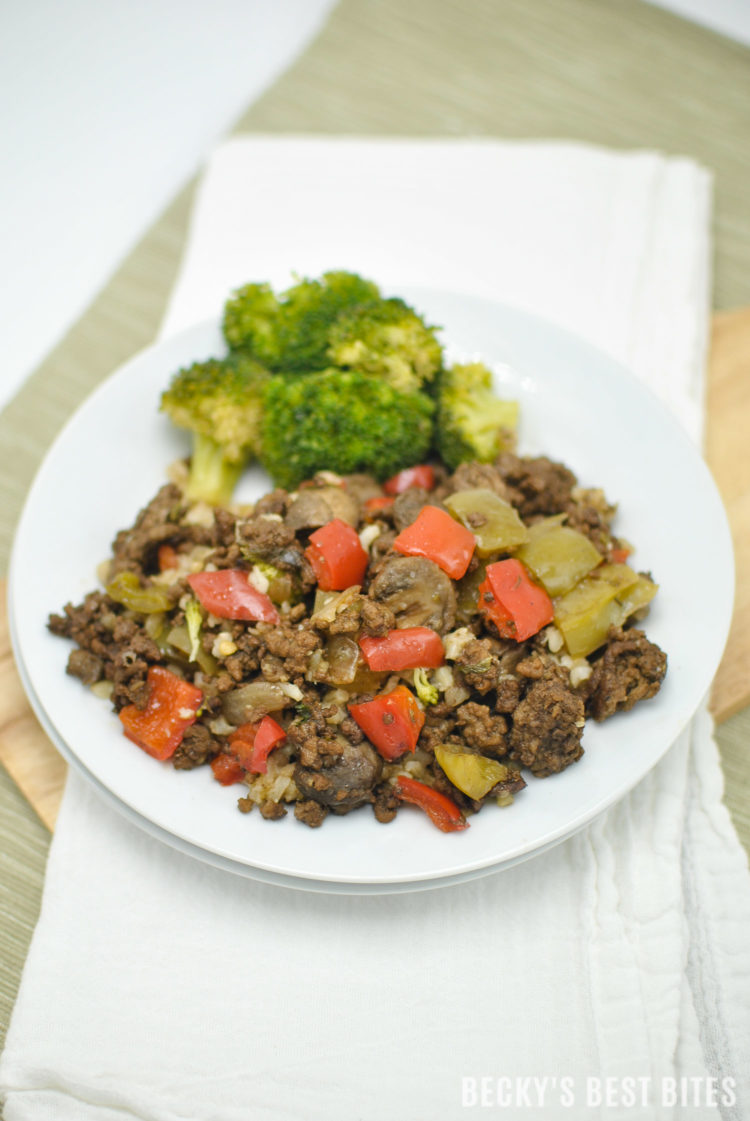 Bell Pepper Mushroom and Ground Beef Skillet is an easy and healthy weeknight dinner recipe. Serve over brown rice, quinoa or egg noodles for a family favorite that you can add to the weekly meal rotation. | beckysbestbites.com